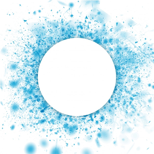 青い水彩スプラッシュ背景上のテキストに与えられた空の白い円形フレーム。