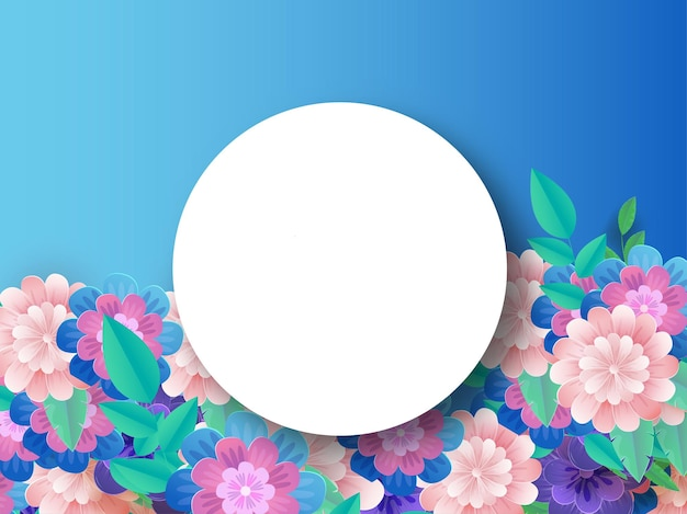 Empty white circular frame with colorful flowers and leaves decorated blue background
