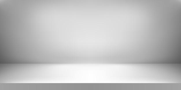 빈 흰색 스튜디오. 방 배경. 내용 표시를위한 복사 공간이있는 제품 전시. 삽화
