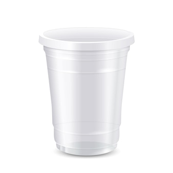 Empty white disposable plastic cup