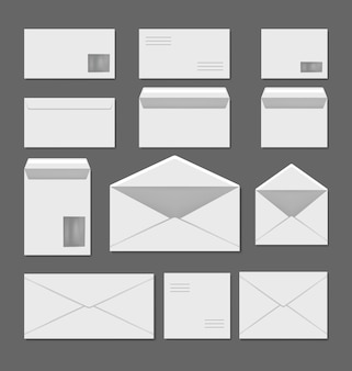 Набор шаблонов пустых белых конвертов