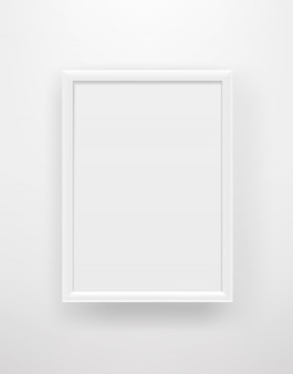 Empty white frame on a white wall.