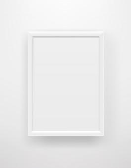 Empty white frame on a white wall.
