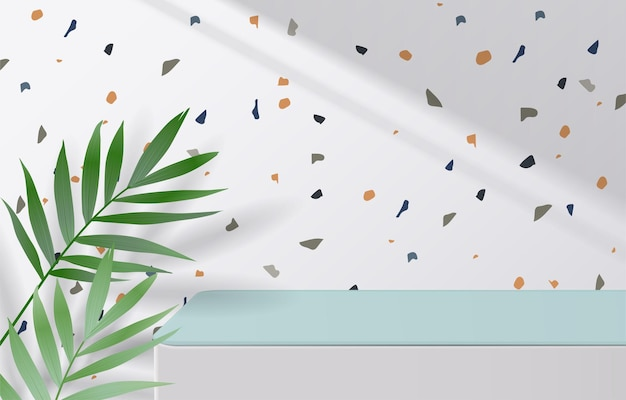Empty of white and green table top on terrazzo texture background with green leaves and drop shadow. for montage product display or design banner mock up. 3d vector