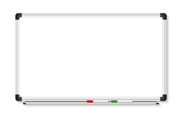 白い背景の上の空の白いマーカーボード。リアルなオフィスホワイトボード。図