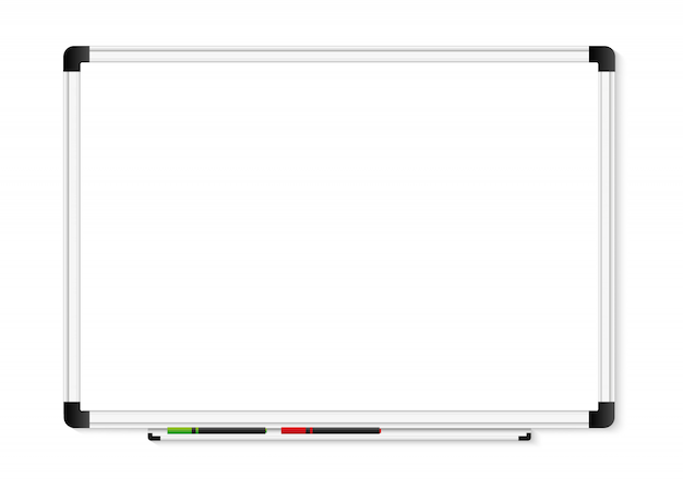 Empty white marker board on transparent background.