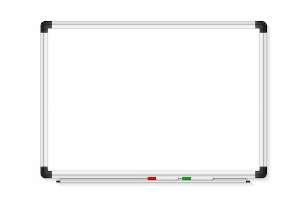 Empty white marker board on transparent