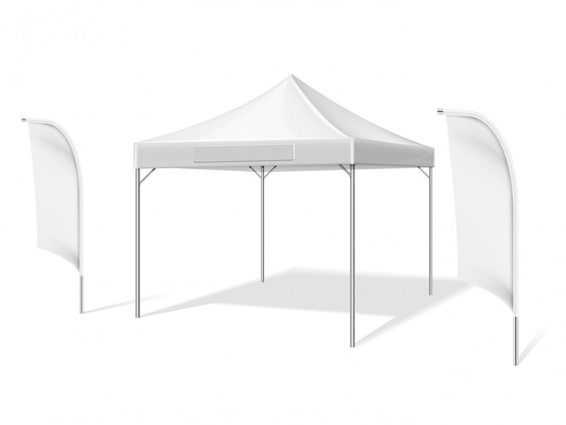 Empty white outdoor event tent with flying beach material flags vector illustration isolated