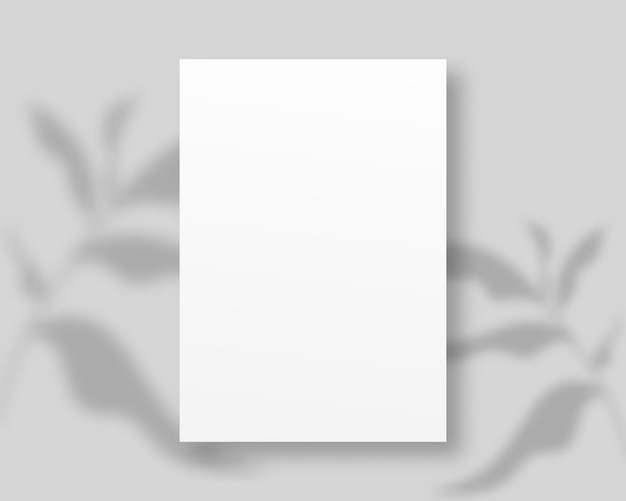 Empty white paper with shadow overlay. a4 paper isolated on grey background.