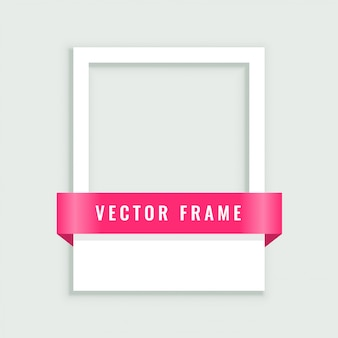 Empty white picture frame with ribbon
