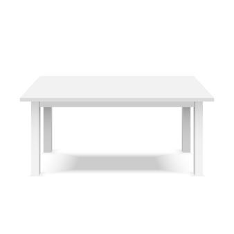 흰색 배경에 고립 된 빈 흰색 플라스틱 3d 테이블