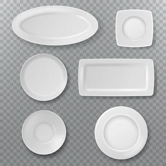 Empty white plate. food plates top view topping dish bowl from above kitchen ceramic elements cooking porcelain isolated