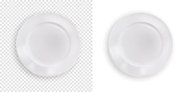 隔離された空の白いプレート、キッチンの現実的なきれいな食品皿ボウル。