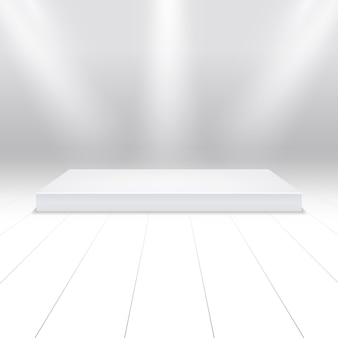 Empty white podium for products
