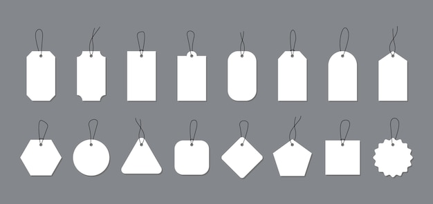 Empty white price tags and labels for promotion design.