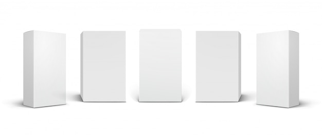 Empty white product  s, cosmetic, medical packaging boxes at different angles.