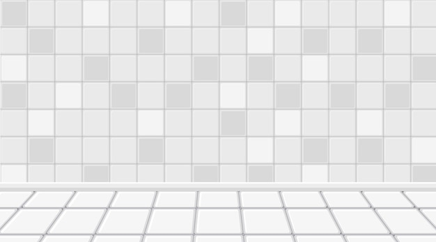 Empty white room with white tiles floor and wall
