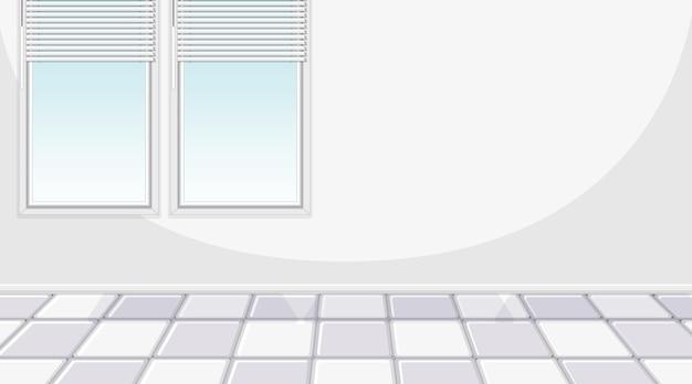 Stanza bianca vuota con finestre e piastrelle bianche