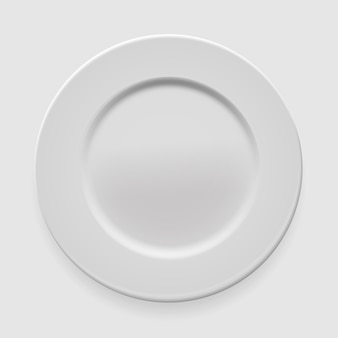 Empty white round plate on light background for your design