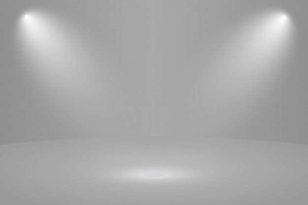 Empty white round studio room background