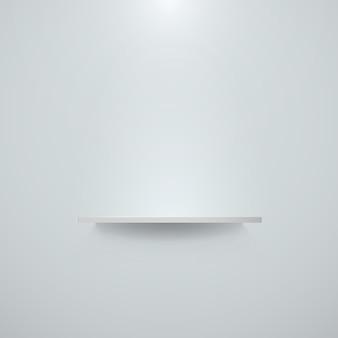 벽에 걸려 빈 흰색 선반입니다. 선반과 밝은 사무실 벽. 삽화