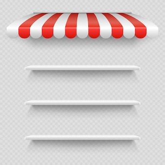 Empty white shop shelf under striped white and red sunshade   on transparent background
