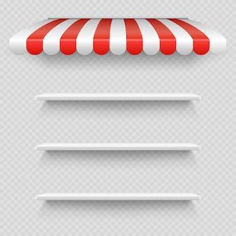 透明な背景にストライプの白と赤のサンシェードの下の空の白い店の棚