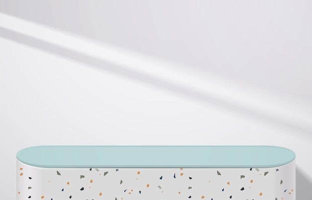 Empty of white terrazzo and green table top on white background with drop shadow. for montage product display or design banner mock up. 3d vector
