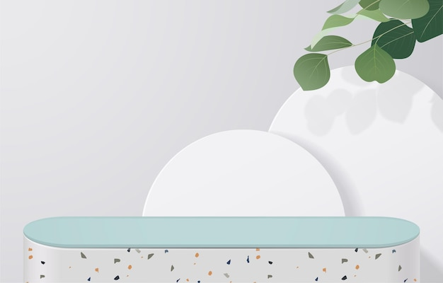 Empty of white terrazzo and green table top on white background with green leaves. for montage product display or design banner mock up. 3d vector