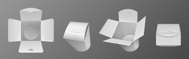 빈 흰색 웍 상자, 중국 음식, 국수 또는 닭고기와 쌀 종이 포장.