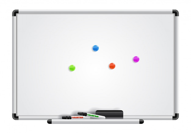 Empty whiteboard, markers and magnets. for banners, posters, leaflets and brochures.