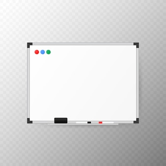 マーカー、スポンジ消しゴム、磁石付きの空のホワイトボード。