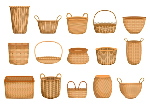 Empty wicker basket cartoon collection. realistic handmade hampers and boxes for picnic, gifts, grocery.