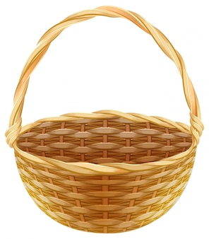 Empty wicker basket. wicker basket made of straw