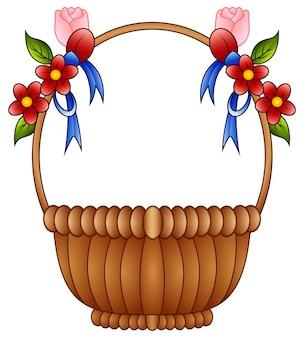 Пустая плетеная корзина с цветными цветами и синими луками