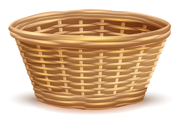 Empty wicker basket without handles