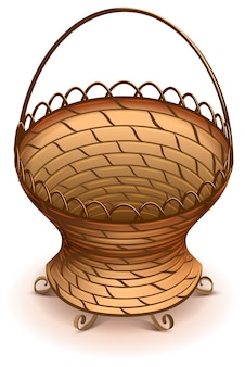 Empty wicker flower basket with handle vector illustration
