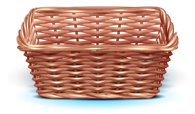Empty wicker straw basket for harvest festival template square basket tray