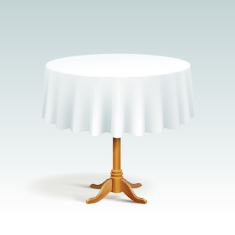 Empty wood round table with tablecloth