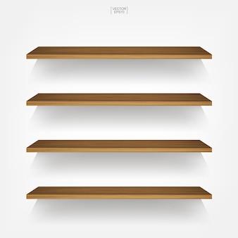 柔らかい影と白い背景の上の空の木製棚。ベクトルイラスト。