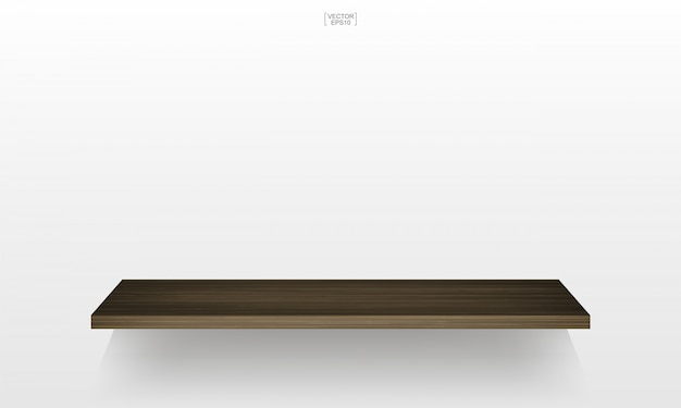 Empty wood shelf on white background with soft shadow. 3d empty wooden shelves.