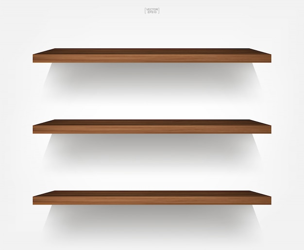 Empty wood shelf on white background with soft shadow.