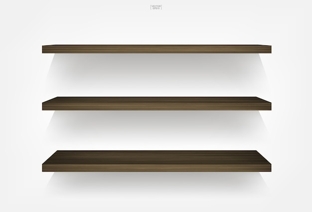 Empty wood shelf on white background with soft shadow.