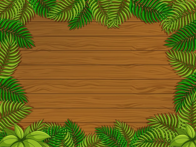 Empty wooden background with tropical leaves elements
