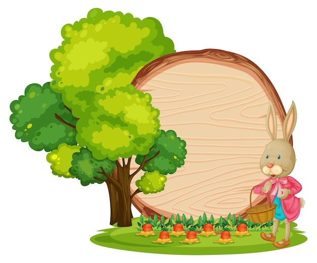 Empty wooden banner in the garden with a rabbit isolated
