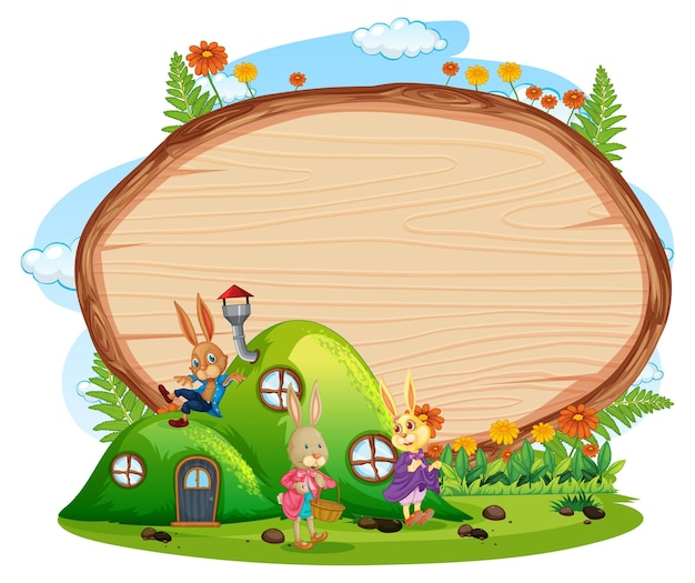 Empty wooden banner in the garden with two rabbits isolated on white background