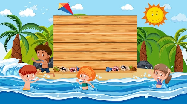 Empty wooden banner template with kids on vacation at the beach daytime scene