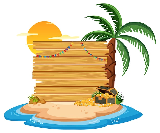 Empty wooden banner template with summer beach element on white background