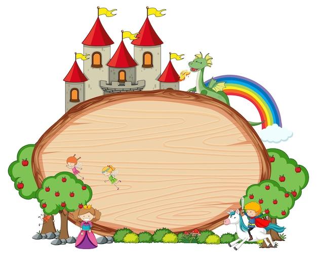 Insegna di legno vuota con il personaggio dei cartoni animati di fiaba e gli elementi isolati
