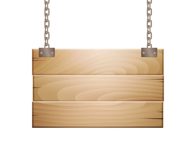 Пустой деревянный знак доски висит на цепи изолированной на белизне. векторная иллюстрация